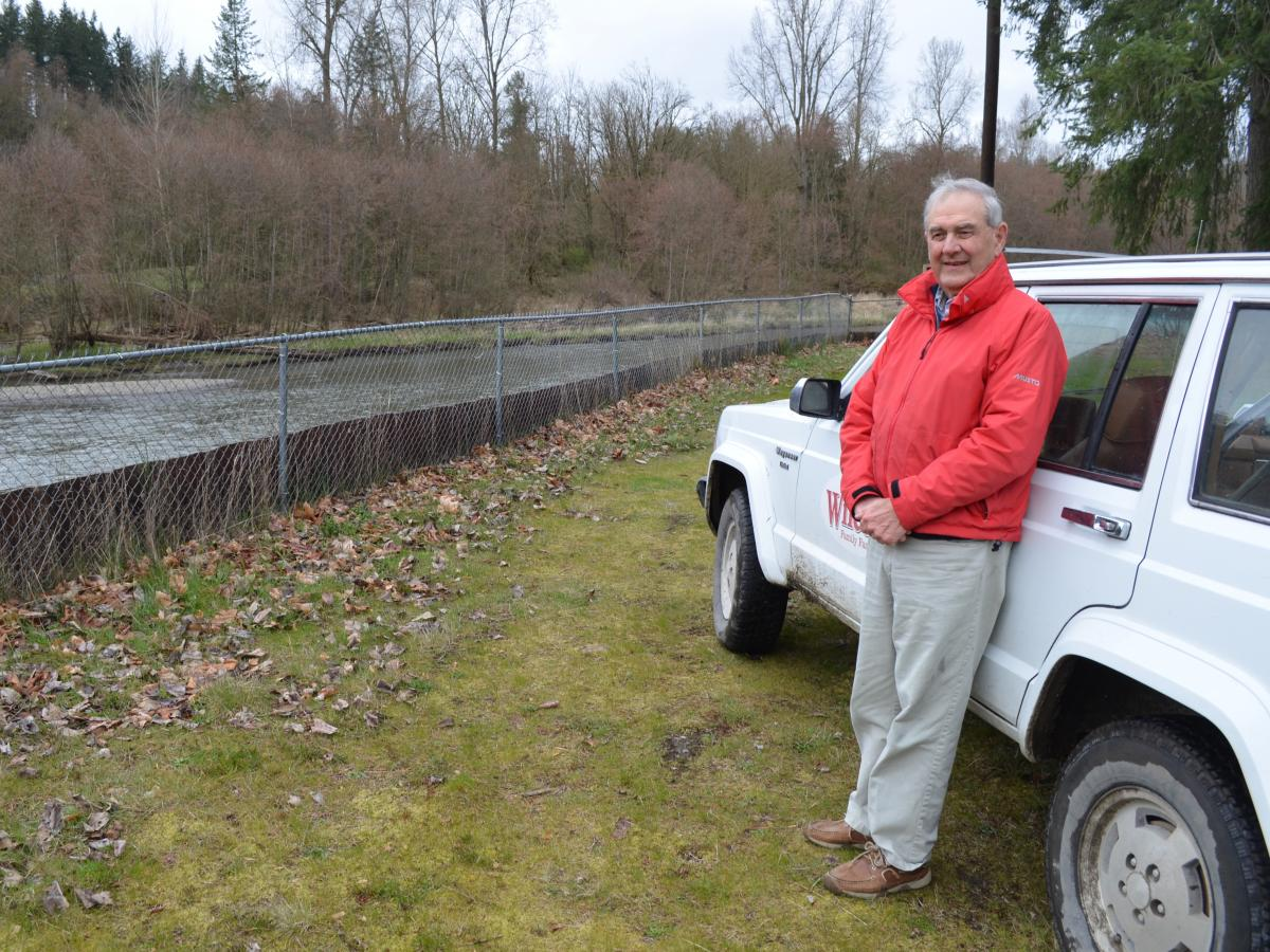 Jim Wilcox is a fourth-generation egg farmer. His family farm borders the Nisqually River in Washington state.