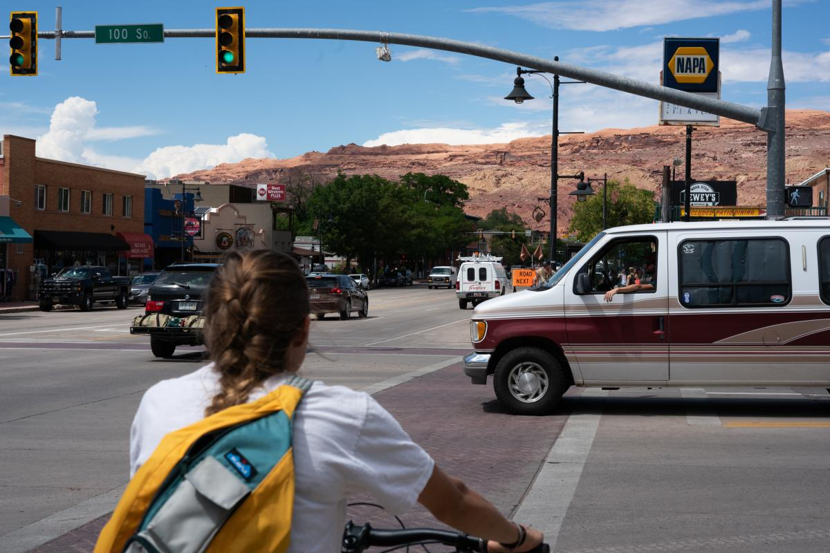In the 1950s, Moab was a sleepy uranium mining town. But a tourism-driven economy has brought with it traffic.