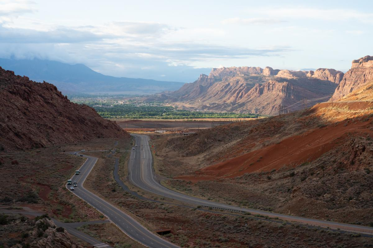 Moab, which can be seen from Arches National Park, was once held up as a national model for how to reinvent an economy based on tourism and recreation.