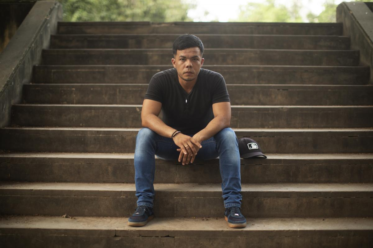 Roberto Andres Rondón Restrepo, 27, defected from the Venezuelan military and is now living in Colombia. He is one of the 1,000 Venezuelan forces who, since February, have fled Maduro's rule, crossed into Colombia and turning over their weapons and unifo