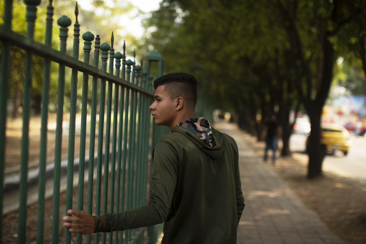 Rojas Tapias, 19, defected from the Venezuelan military and is now living in Colombia. Fellow defector, Williams Cancino, says more than 200 other former Venezuelan forces are cooped up in a hotel in Villa del Rosario.