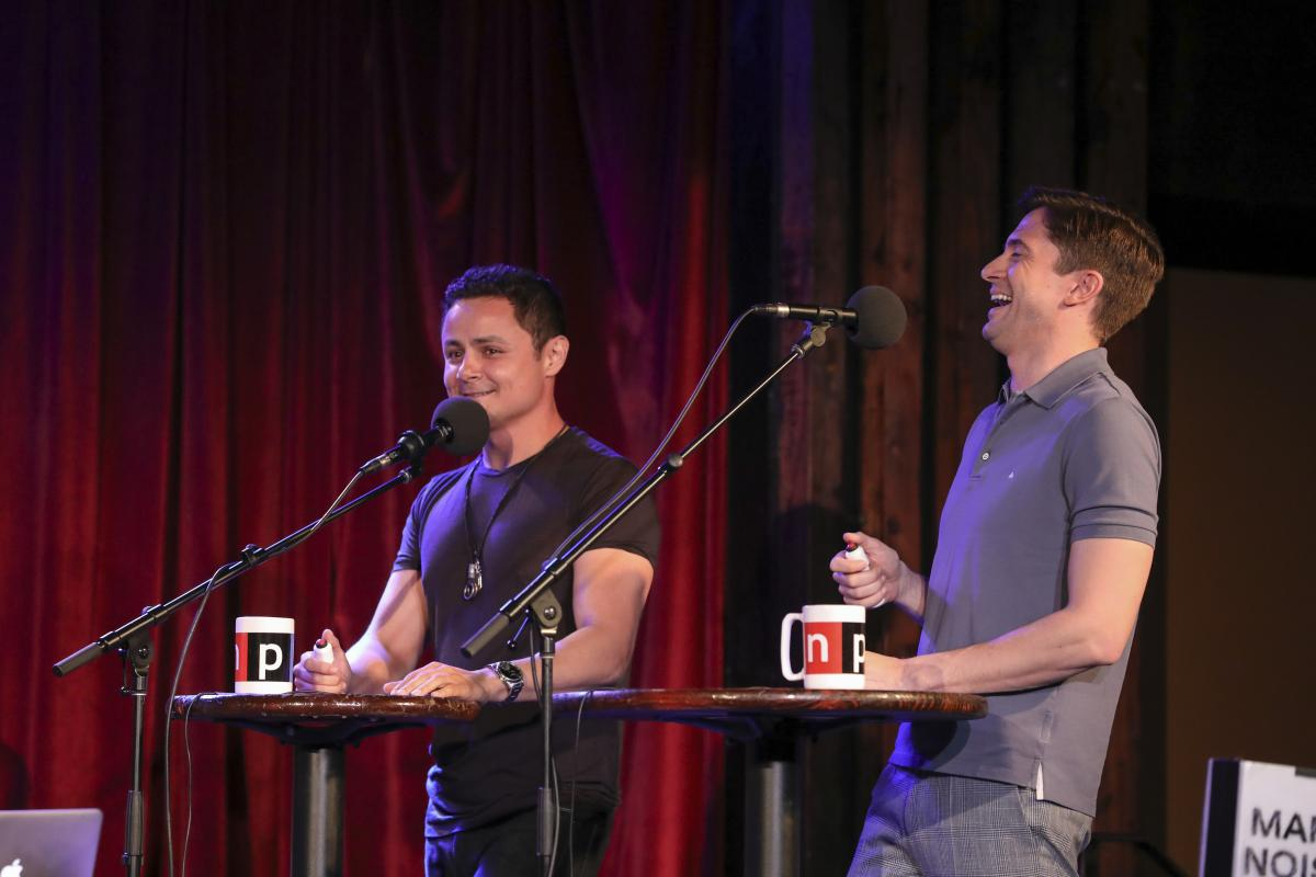 Ask Me Another guests Arturo Castro and Topher Grace at the Bell House in Brooklyn, New York.