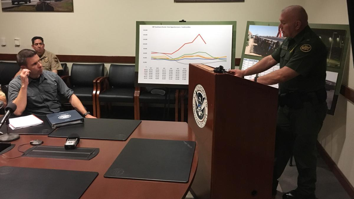 Chris Clem, the deputy chief of the El Paso Border Patrol Sector, gave a briefing on Thursday to acting Department of Homeland Security Secretary Kevin McAleenan on current border conditions.