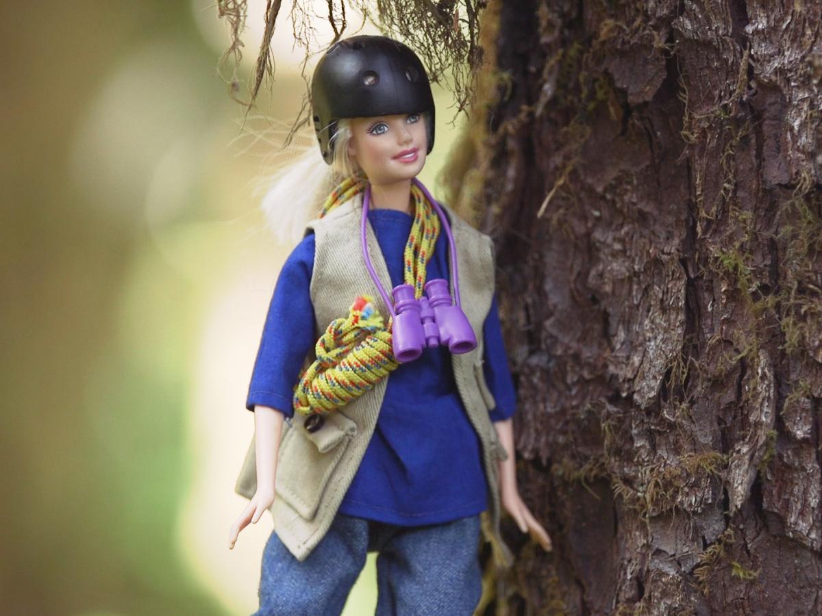 One of Nalini Nadkarni's homemade TreeTop Barbies.