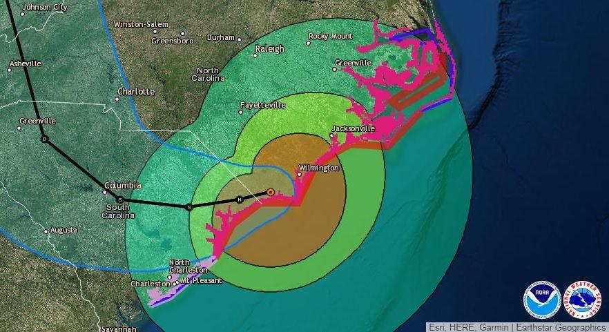 After creeping inland, Florence is expected to head west across South Carolina before looping up toward Tennessee and Kentucky early next week.