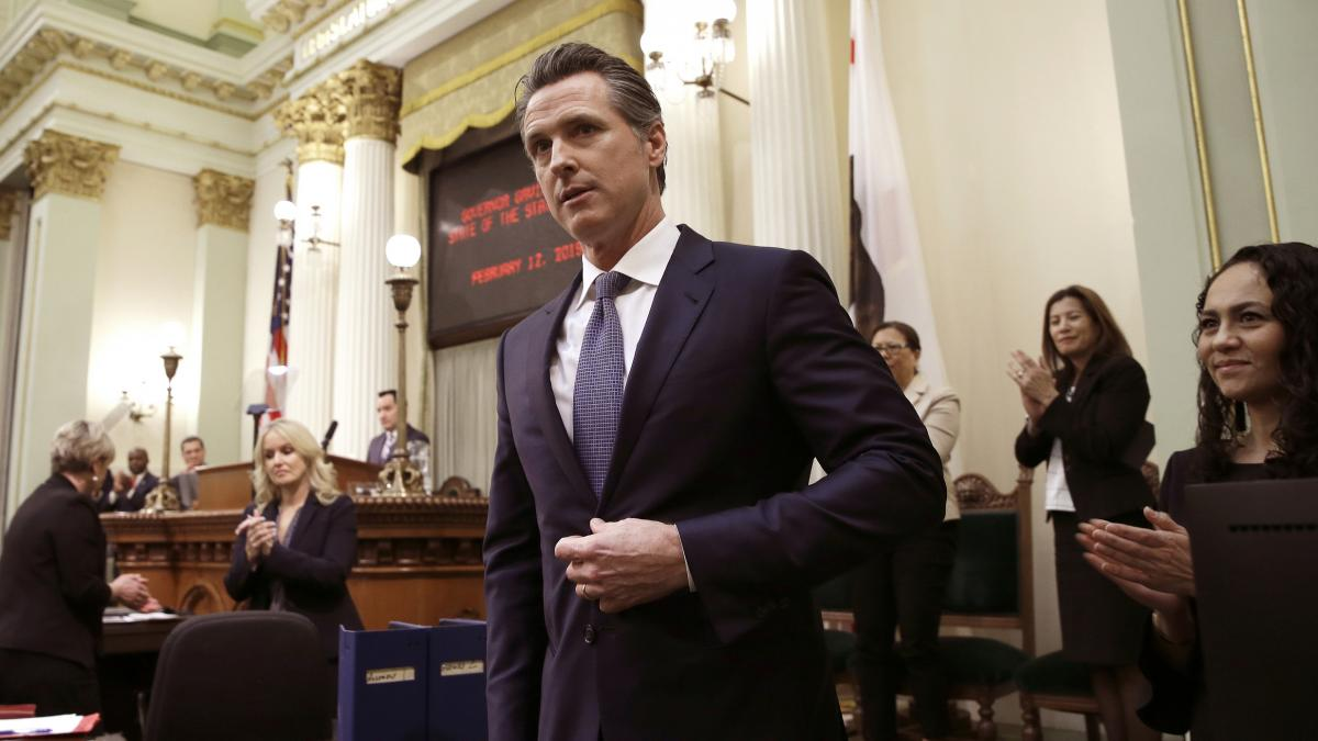 Calif., Gov. Gavin Newsom receives applause after delivering his first State of the State address. In that address he said  he planned to scale back California's high-speed rail project and focus immediately on building 171 miles of track in central Calif