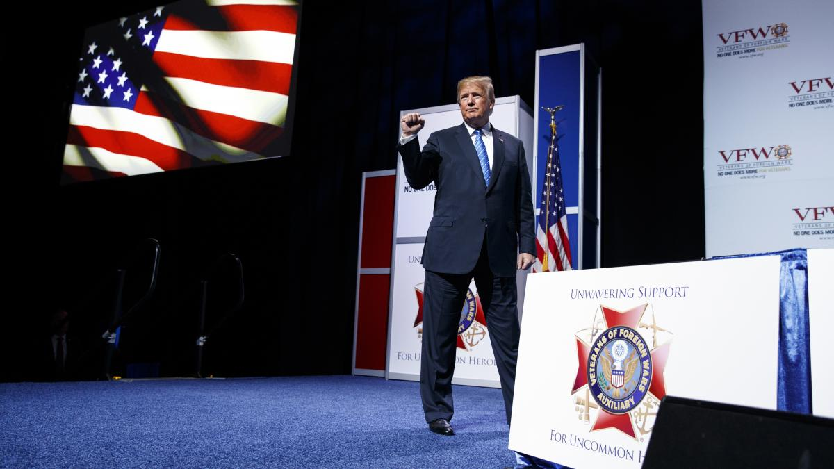 """During a speech to the VFW in Kansas City, Mo., President Trump said farmers """"will be the biggest beneficiary"""" of his tariffs, and he urged them to """"just be a little patient."""""""