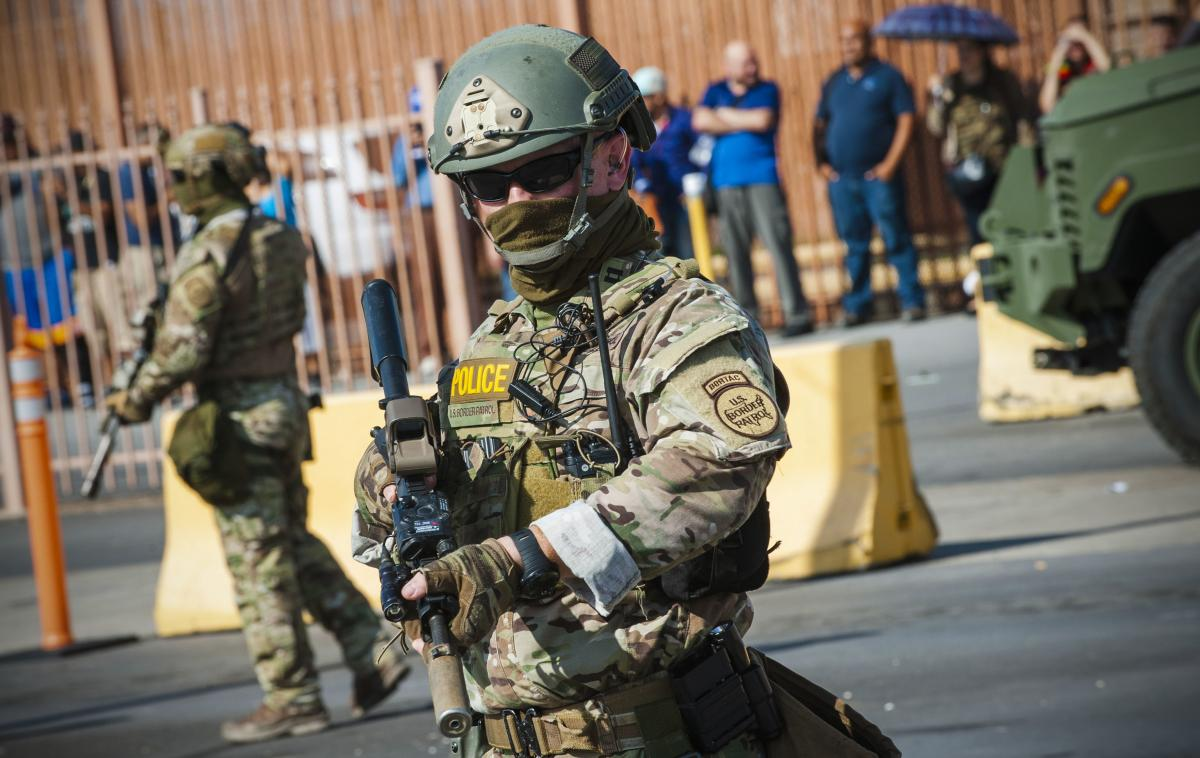 U.S. Customs and Border Protection agents participate in a training exercise at a vehicle entry point along the border with Mexico in Hidalgo, Texas, on Monday.