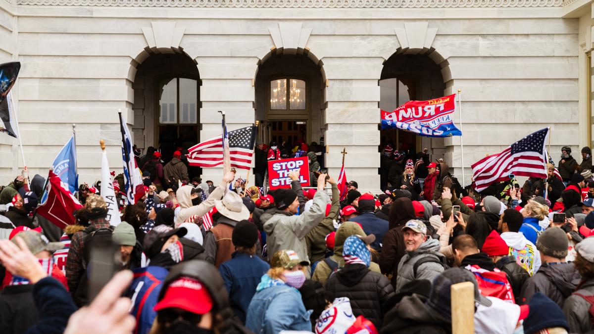 A pro-Trump mob floods into the U.S. Capitol on Jan. 6.