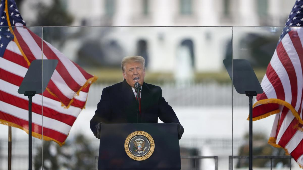 """President Trump speaks at the """"Stop The Steal"""" Rally outside of the White House on Jan. 6, just before his supporters stormed the Capitol."""