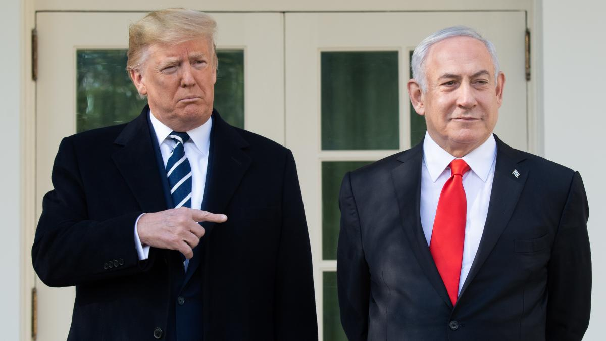 President Trump (left) and Israeli Prime Minister Benjamin Netanyahu speak to the media on the West Wing Colonnade ahead of meetings at the White House on Monday.