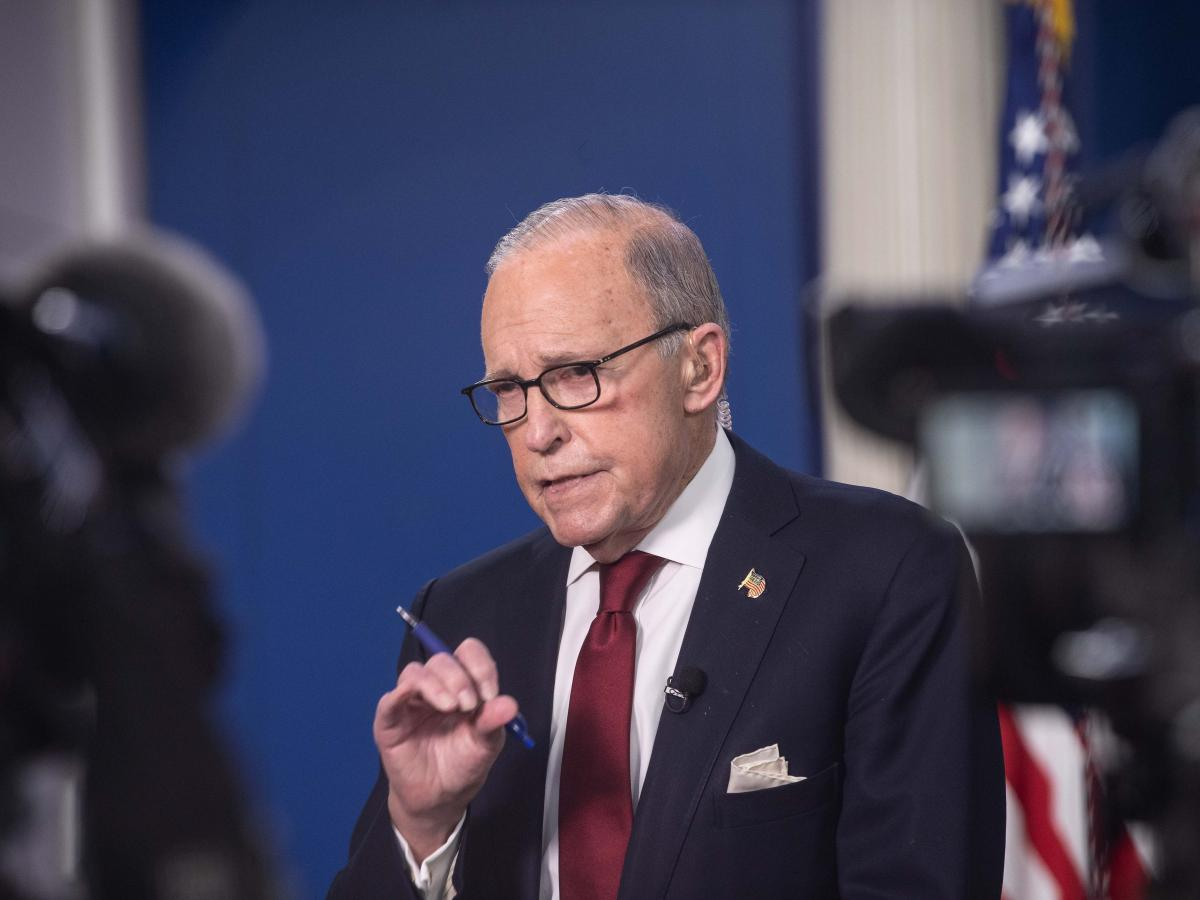 Larry Kudlow, Trump's top economic adviser, speaks to reporters at the White House on Friday.