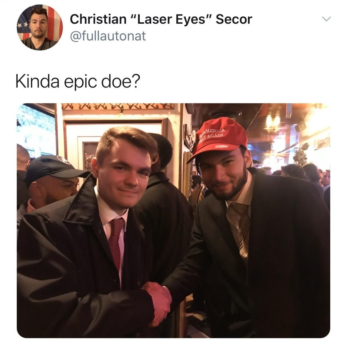 Nick Fuentes (left) shakes hands with Christian Secor (right) in a photo cited by the Department of Justice in its criminal case against Secor. Fuentes is a far-right extremist podcaster who has repeatedly engaged in Holocaust denial. A student activist a