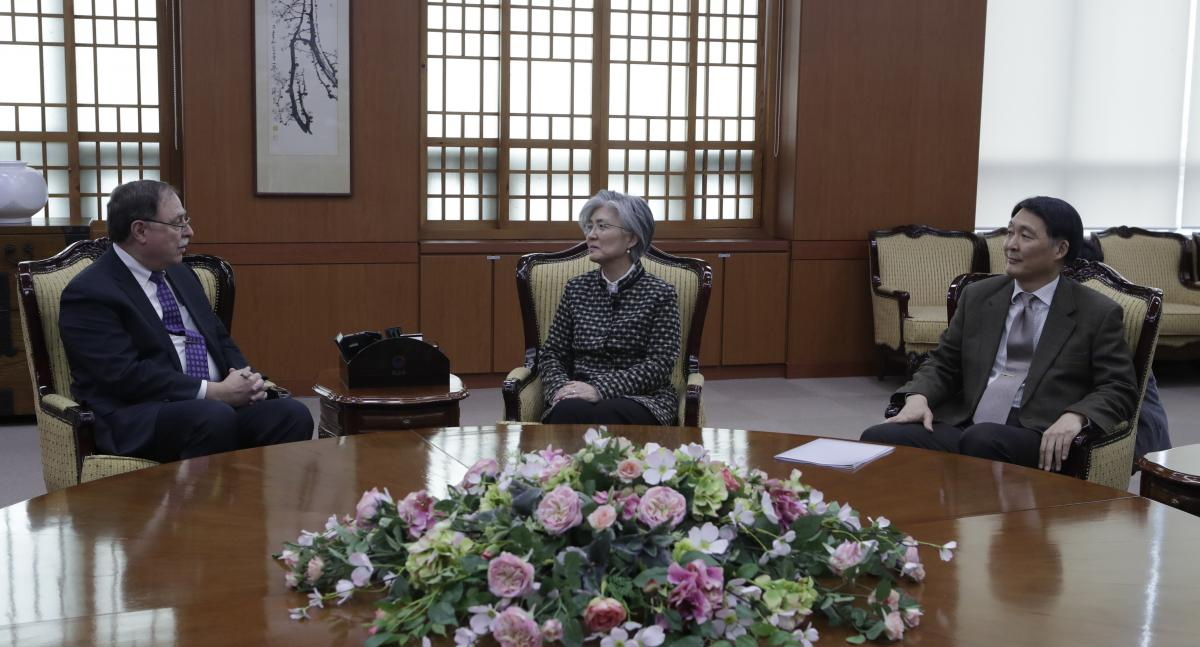 South Korean Foreign Minister Kang Kyung-wha (c) Timothy Betts, acting Deputy Assistant Secretary and Senior Advisor for Security Negotiations and Agreements in the U.S. Department of State (L) and South Korean Foreign Ministry's representative Jang Won-s