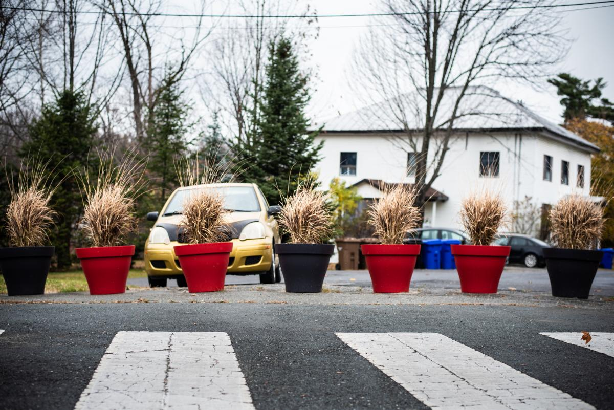 Flower planters delineate the border line and block what was once an open street along the U.S.-Canada international border connecting Stanstead, Quebec, and Derby Line, Vt.