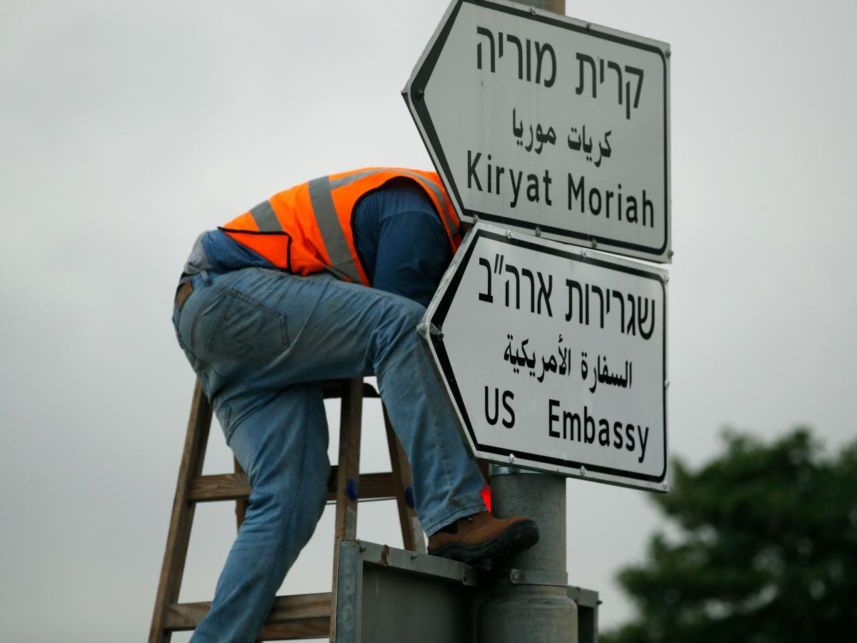 A new road sign points the way to the new U.S. embassy in Jerusalem.