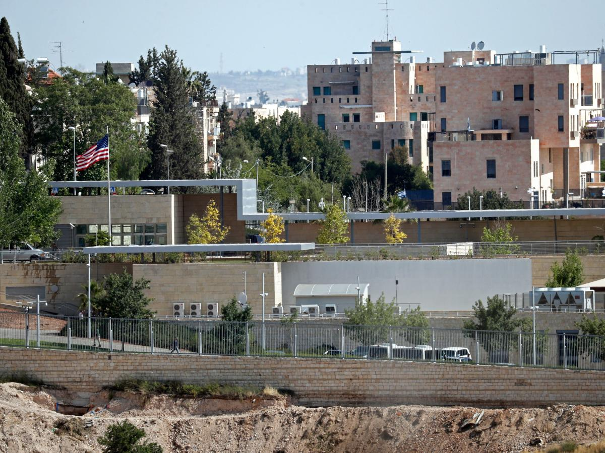 A partial view taken on April 30 shows the U.S. Consulate in Jerusalem.