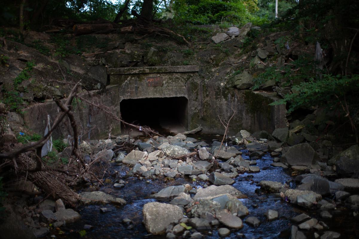 A culvert that overflowed in Harris' Baltimore neighborhood in 2018. Recent flooding in southwest Baltimore surprised many residents, even though climate experts and local officials know that the area is seeing more extreme rain and has a history of flood
