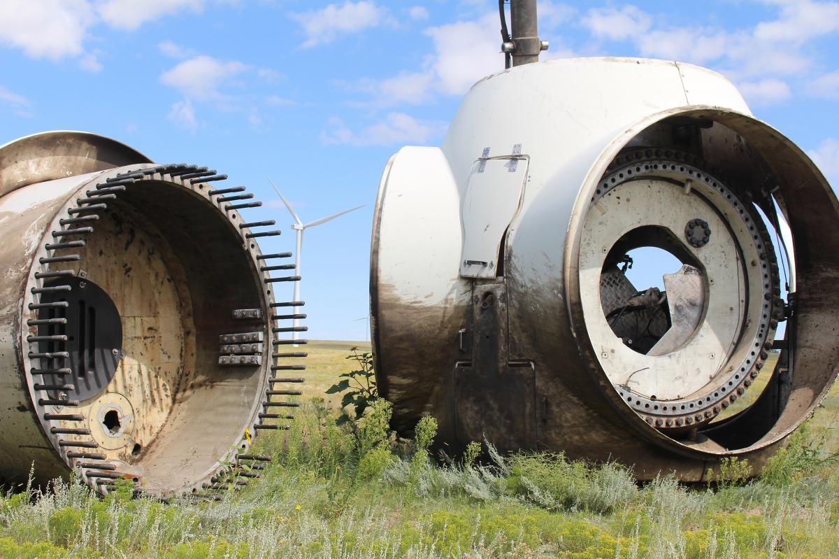 These old wind turbine hubs will be scrapped.