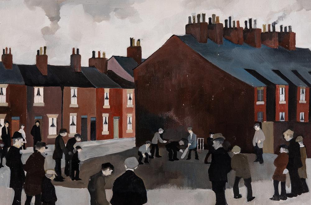 Many of Tucker's paintings depict a version of Warrington that's long gone.