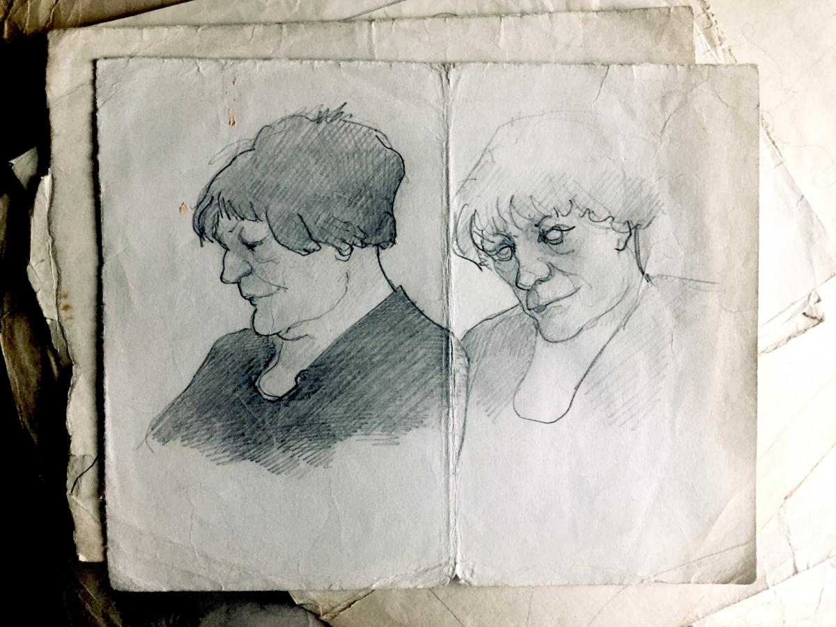 Tucker worked in oils and watercolors, but often would pick up any old scrap of paper to sketch what he saw around him.