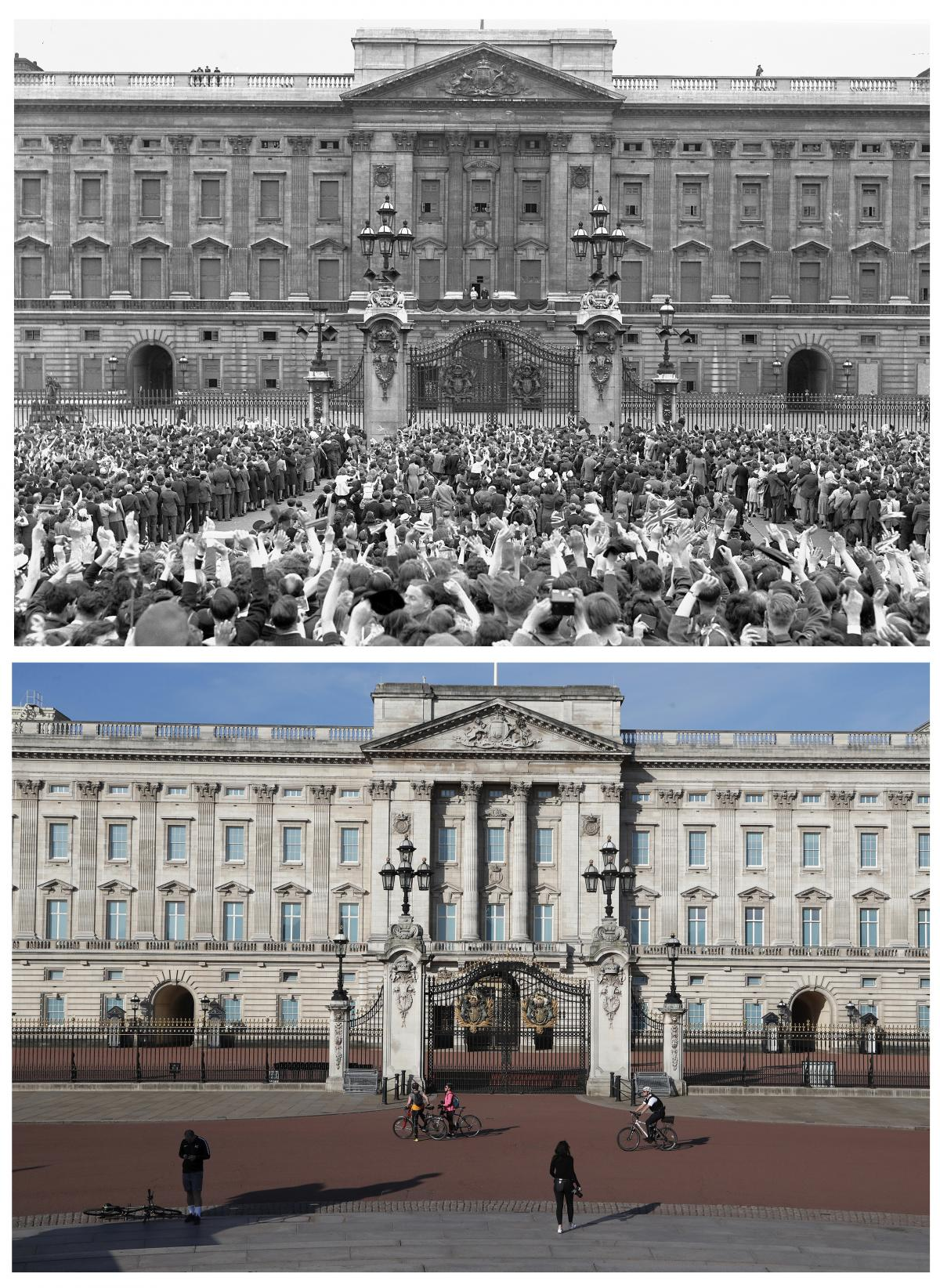 This diptych reveals the contrast: Vast throngs (top) turned up outside London's Buckingham Palace on V-E Day, May 8, 1945; but the scene appeared quite different on Friday, 75 years later (bottom), as the U.K. fought its serious coronavirus outbreak.