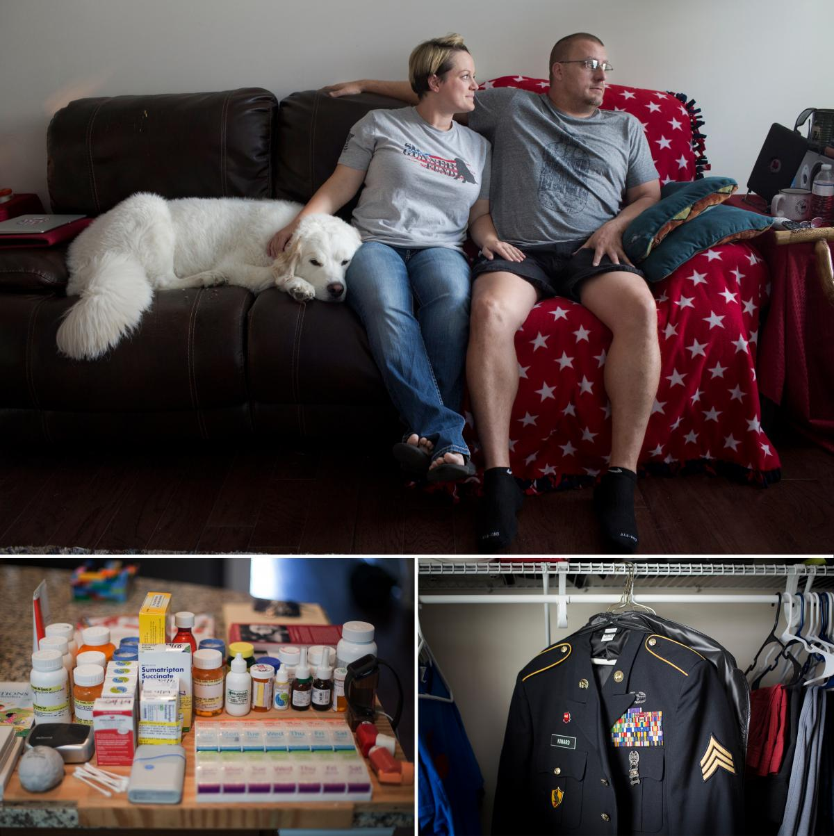 (Top) Britnee Kinard's husband, Hamilton, has a brain injury and PTSD. She got kicked off the program by the Charleston VA in 2014. (Left) Hamilton's daily medication. (Right) His uniform in the closet at their home in Richmond Hill, Va.