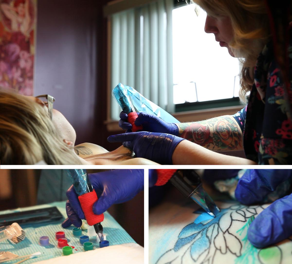 """O'Hara's tattoo required three sessions with Lisa Doll to complete the line work and color shading. Doll says that clients """"get these tattoos to represent things about themselves. It becomes an empowering thing for them, an expressive thing."""""""