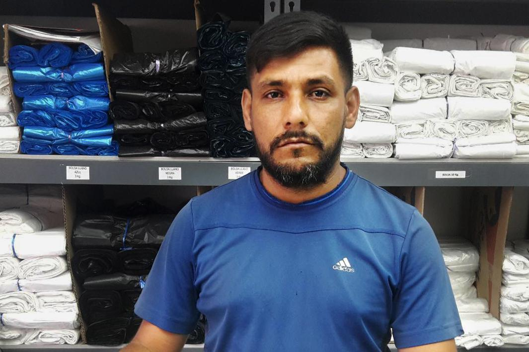 Henry Zambrano was an army lieutenant in Venezuela and now works at a store selling plastic supplies in Cúcuta, Colombia.