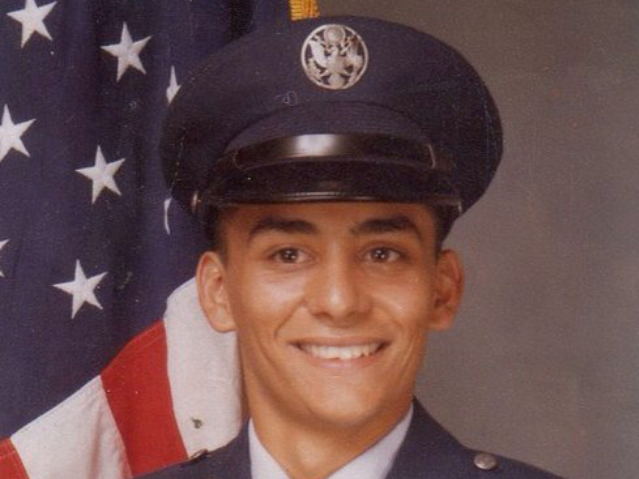 Air Force veteran Billy Ramos, now 53, in a 1982 photo from his basic training days as an Airman in Texas, at Lackland Air Force Base. Now self-employed, Ramos relies on Medicaid for his family's health insurance needs.