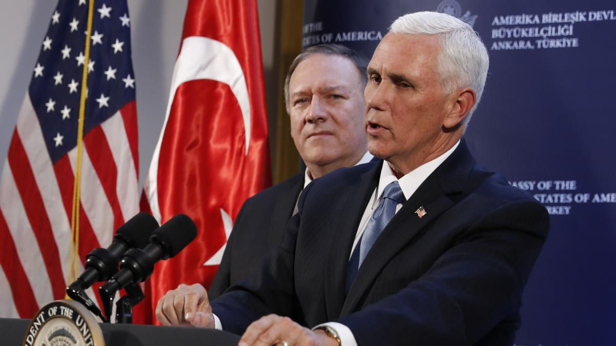 Vice President Mike Pence and Secretary of State Mike Pompeo speak to reporters in Ankara, Turkey after a hastily-arranged meeting with Turkish President Recep Tayyip Erdogan on Oct. 17, 2019 over Turkey's offensive in Syria.