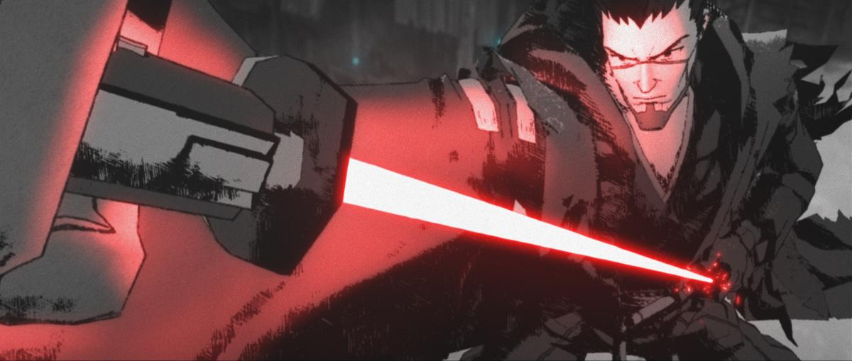 """Ronin (voiced by Masaki Terasoma in Japanese and Brian Tee in the English dub) in a scene from the Star Wars: Visions episode """"The Duel."""""""