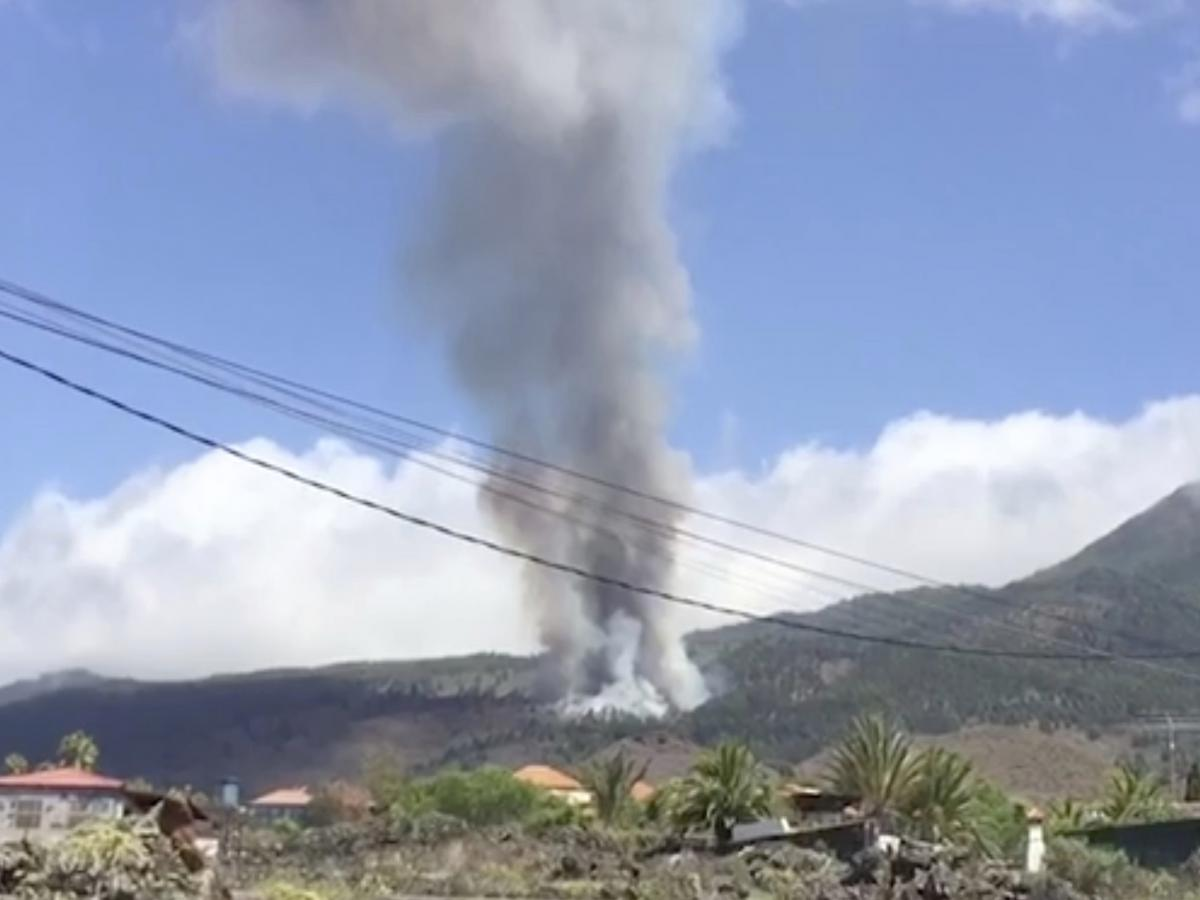 This image taken from video shows the volcanic eruption in La Palma filmed by a resident. The volcano on Spain's Atlantic Ocean island of La Palma erupted Sunday after a weeklong buildup of seismic activity.