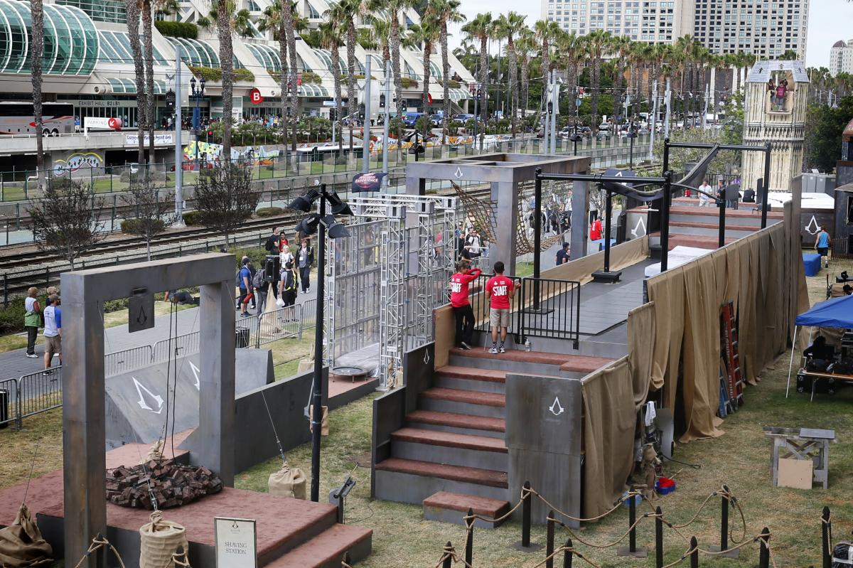 Outside the convention center, things get even bigger: This giant obstacle course promotes the video game Assassin's Creed.