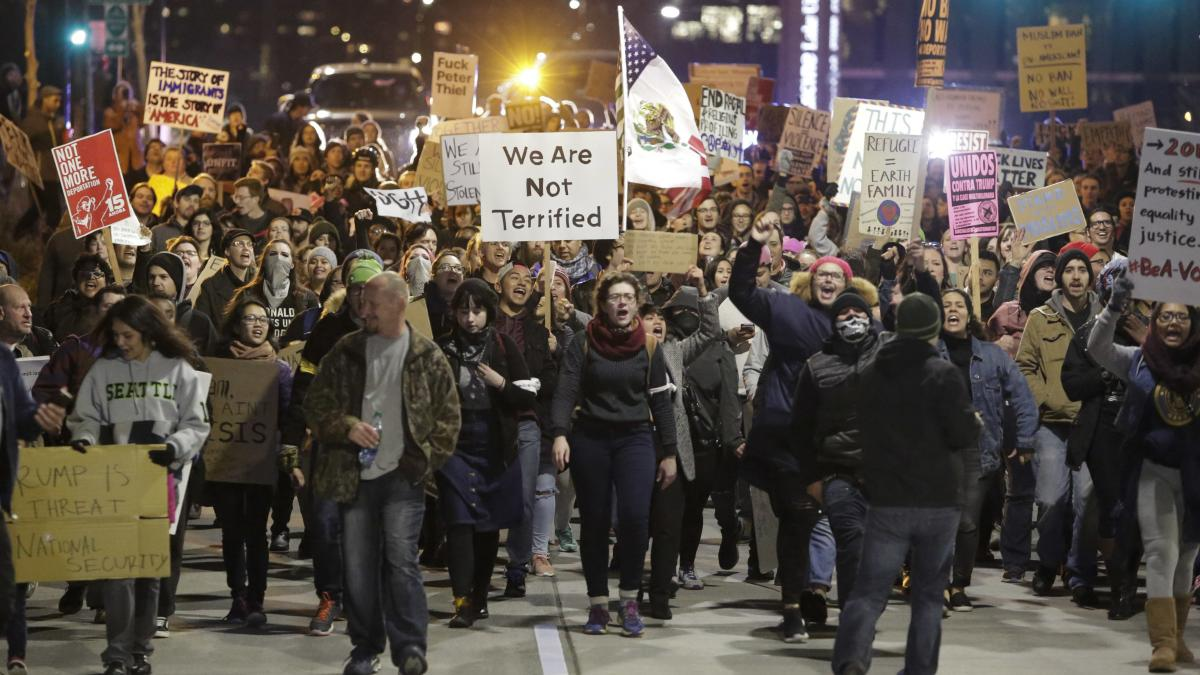 Washington state has filed a lawsuit seeking to block President Trump's order on immigration from Muslim-majority countries. The ban prompted protests over the weekend in Seattle and other cities.