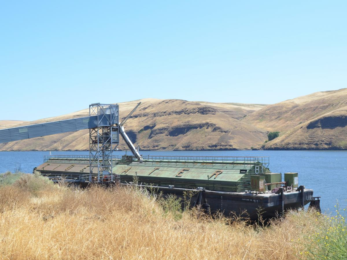 Eastern Washington's Snake River is dotted with wheat-loading facilities.