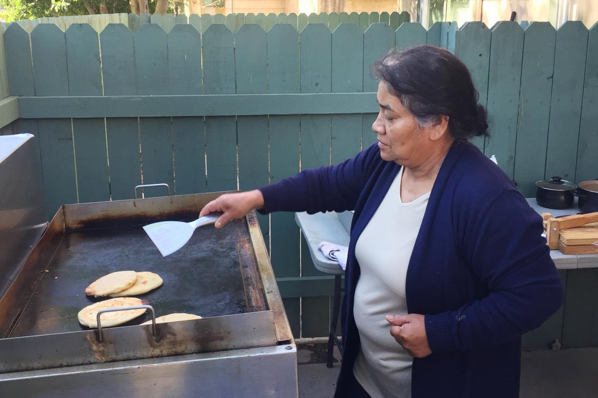 Maria Contreras, José's sister, makes papusas and other food for sale in Southern California — to help support the family while José is in detention at the ICE Adelanto Processing Center. He has been held there for months without his glasses or reques