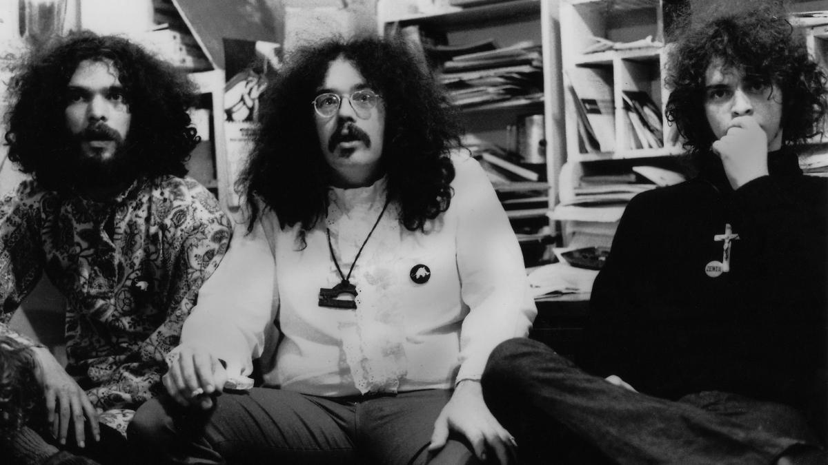 """Some of the White Panther Party leadership. From left: Lawrence 'Pun' Plamondon, the """"Minister of Defense""""; John Sinclair, """"Minister of Information""""; and Wayne Kramer, """"Minister of Culture."""""""