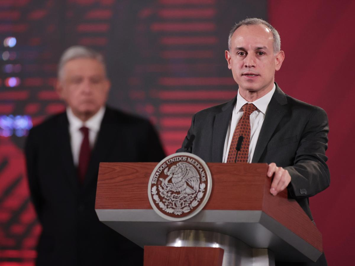Mexico's assistant health secretary, Hugo López-Gatell, speaks about plans for Mexico to produce an experimental coronavirus vaccine developed by the University of Oxford, at the national palace in Mexico City, on Aug. 13.