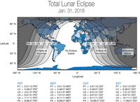 """Global map showing areas of the world that will experience (weather permitting) the Jan. 31, 2018, """"super blue blood moon."""" The eclipse will be visible before sunrise on Jan. 31 for those in North America, Alaska and Hawaii. For those in the Middle East,"""