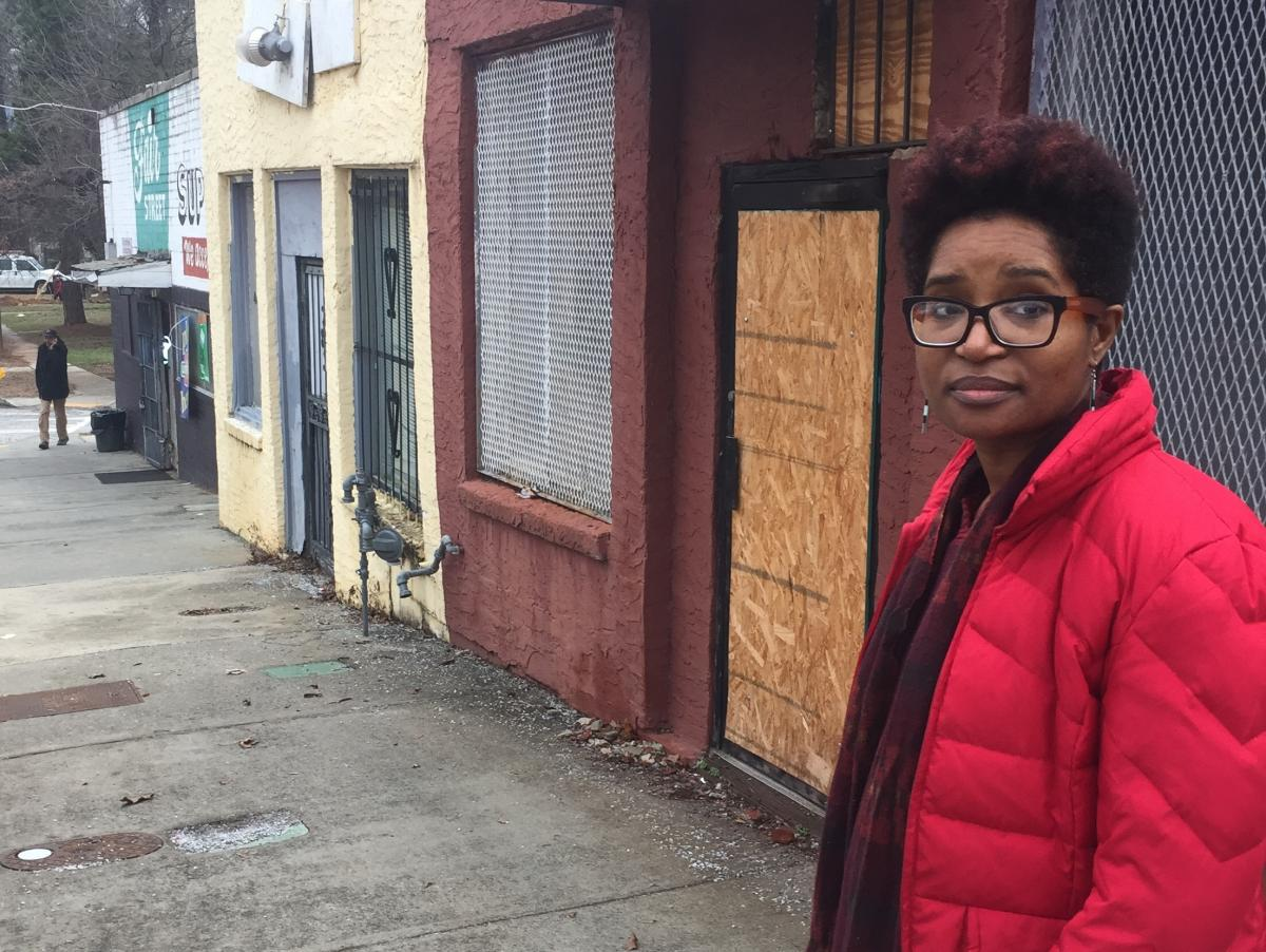 Back in 2017, Keitra Bates stands in front of the building that eventually becomes Marrdy's, a shared kitchen for cooks in West Atlanta.