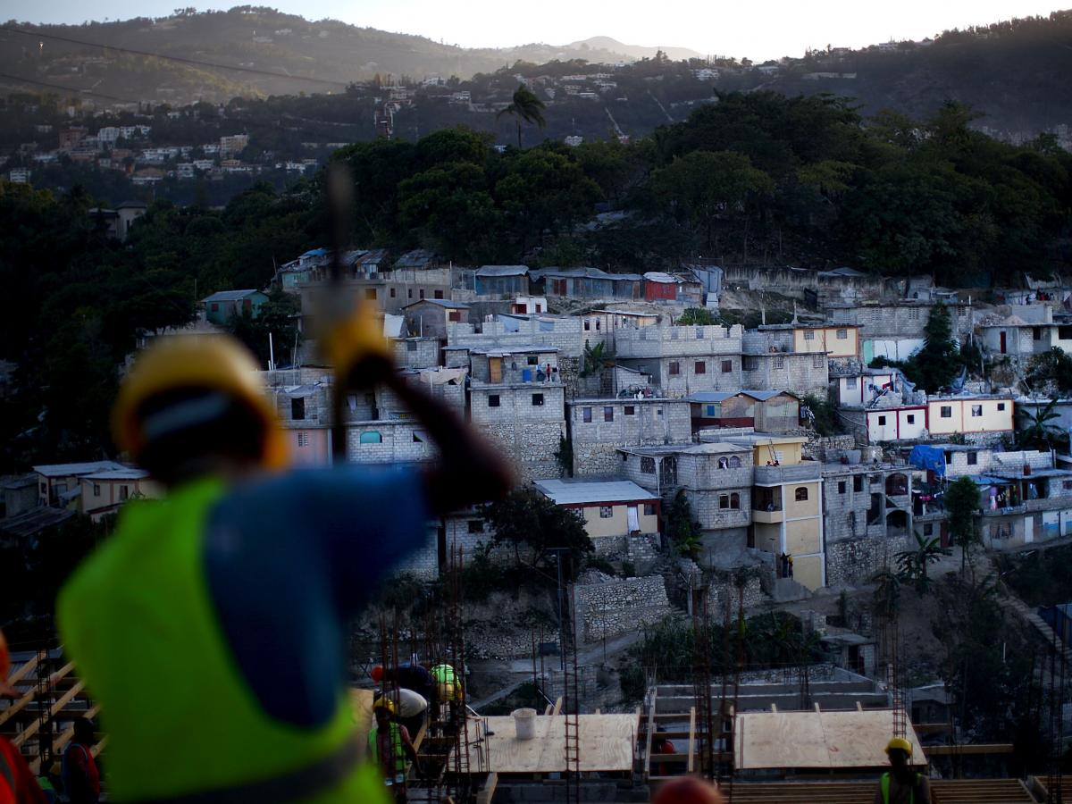 Although progress has been slow, there are signs of construction in Haiti. A neighborhood near downtown Port-au-Prince that was in shambles after the quake has been rebuilt.