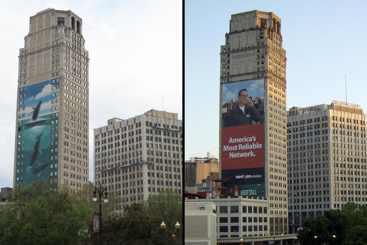 Robert Wyland's Detroit mural in 2014 (left) was covered by an advertisement in 2007.