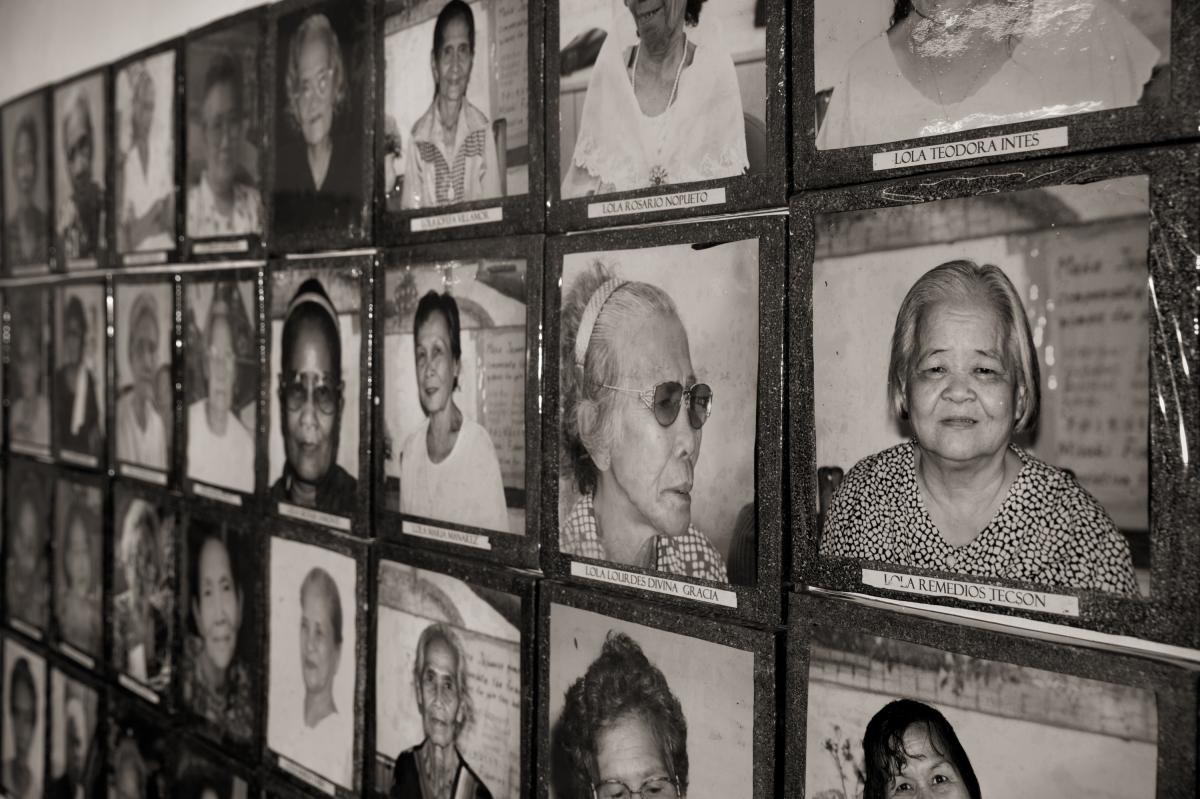 """Images of the """"comfort women"""" of the Philippines, who were held as sex slaves and repeatedly raped by members of the Japanese Army during World War II, are displayed at the Lila Pilipina office in Quezon City. This organization has helped these women in t"""
