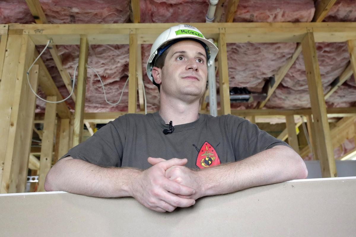 Democratic congressional candidate Dan McCready pictured in September 2018 at a Habitat For Humanity building event in Charlotte, N.C.