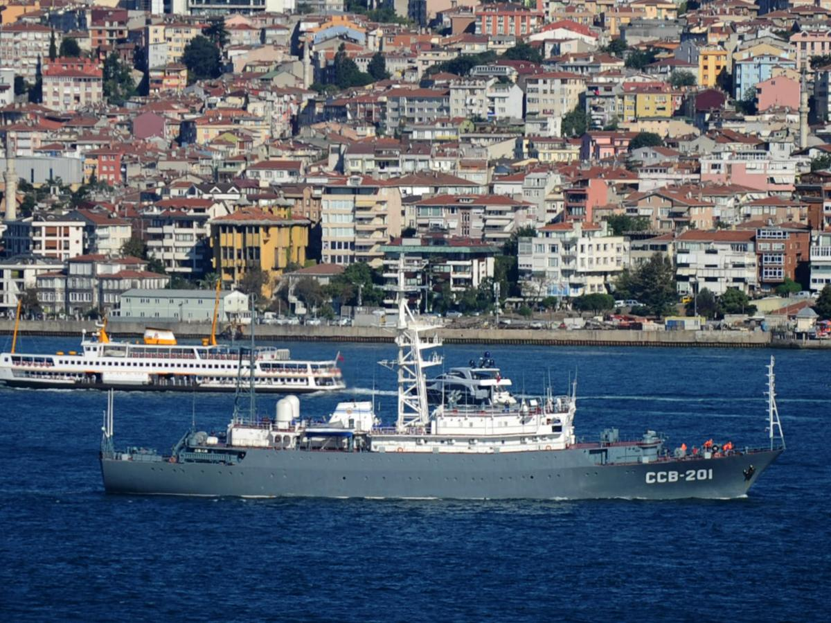 A Russian navy vessel sails in the Bosphorus near Istanbul on its way to intelligence operations off the coast of Syria last week.