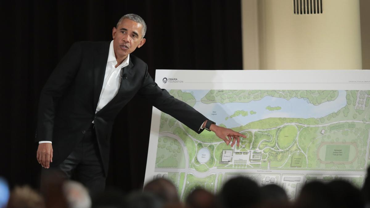 At a ceremony last May, former President Obama points out features of his proposed presidential center, which is scheduled to be built in Chicago. It is not the only honor that awaits the former president in the state he served as a senator: He's also get