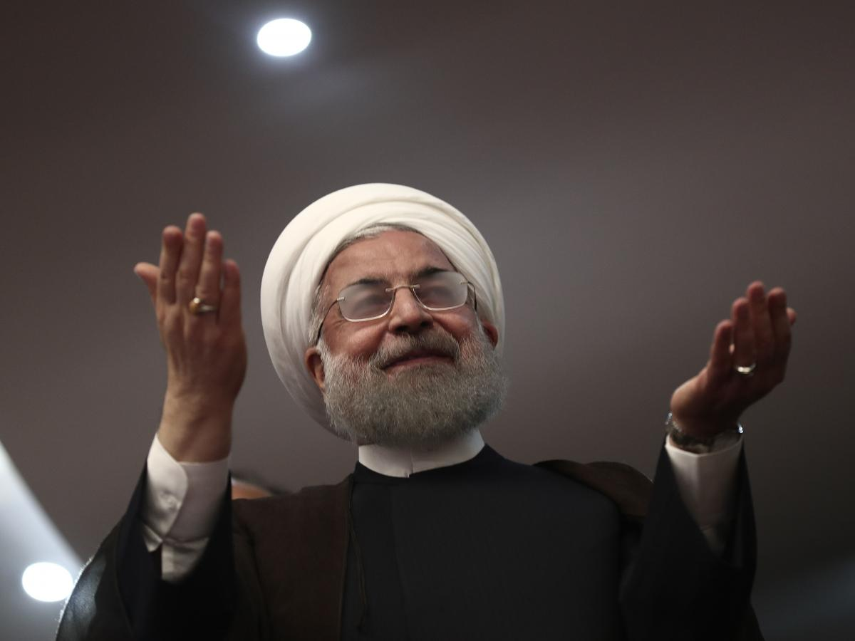 Iranian President Hassan Rouhani speaks to supporters Wednesday at his rally in Ardabil, Iran.