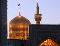 The golden dome and minaret of the Imam Reza shrine in Mashhad, Iran, as seen in 2008.