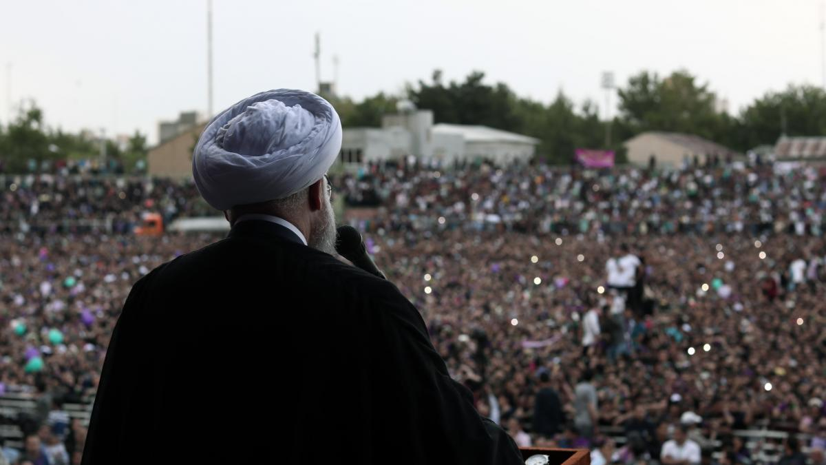 Iranian President Hassan Rouhani addresses a crowd in Takhti Stadium in Mashhad, Iran, on Wednesday. Rouhani took power in 2013, surprising many observers with a convincing victory in the first round of voting.